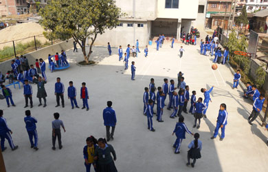 Courtyard view of National Bethel Academy in Nepal